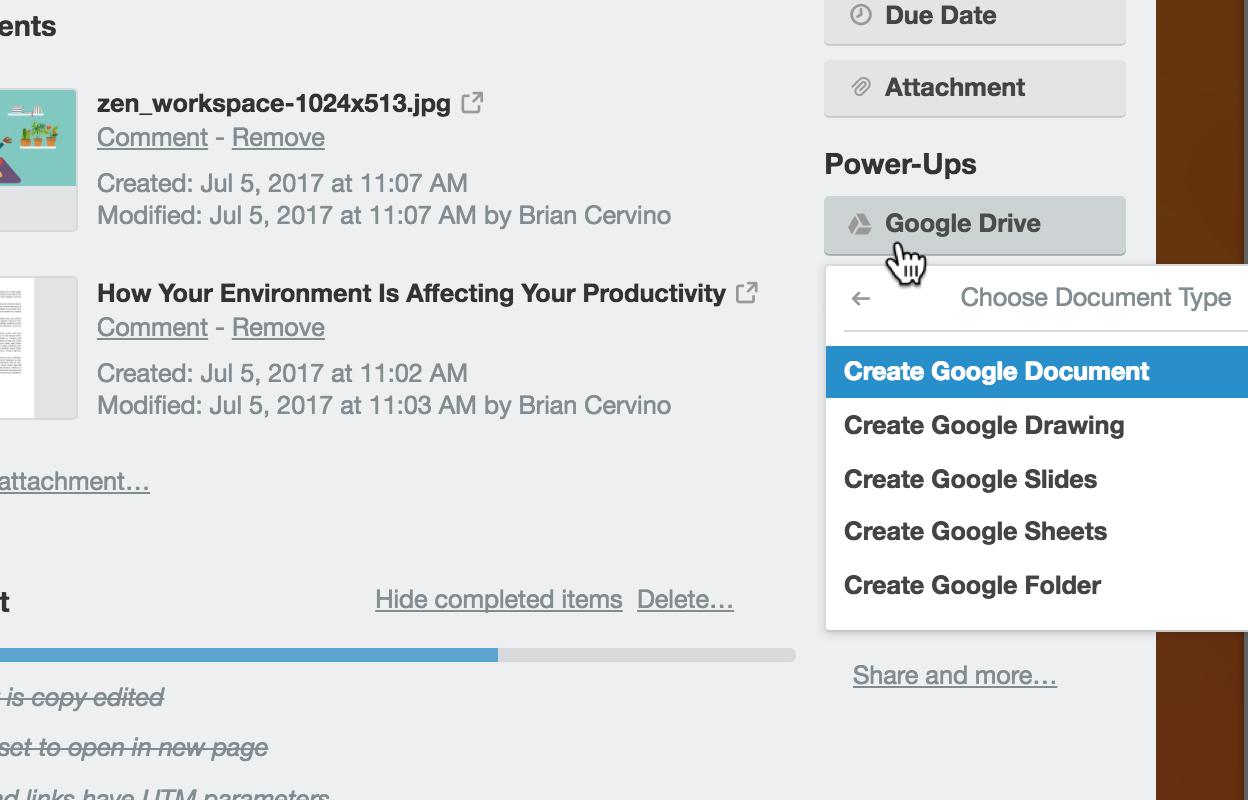Trello Power Up Google Drive
